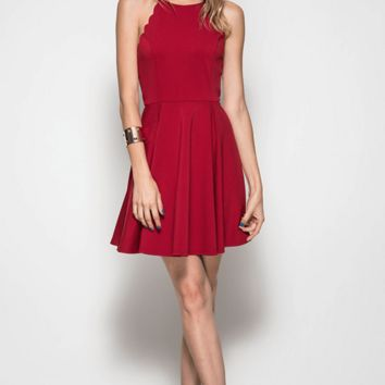 Scallop Fit n Flare Party Dress