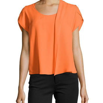 Short-Sleeve Silk Top with Scarf