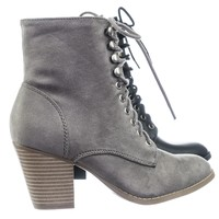 Wanda Women Lace Up Military Combat Chunky Block High Heel Ankle bootie