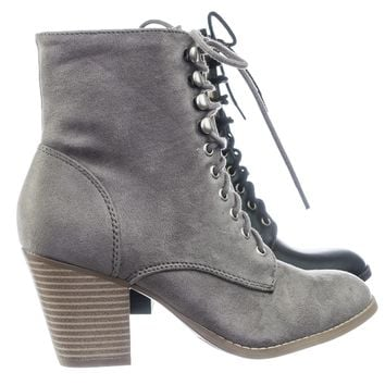 Wanda Women's Lace Up Military Combat Chunky Block  High Heel Ankle bootie