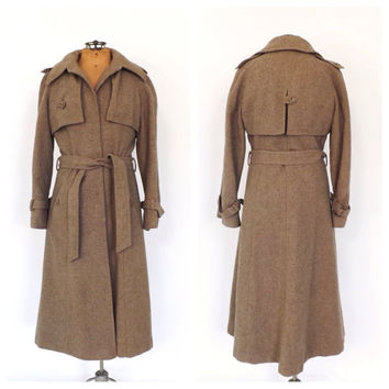 Vintage 1970s Tan Wool Tweed Trench Coat 70s Cubalan Winter Coat Classic Mad Men 1960s Belted Trench Coat Boho Preppy Maxi Coat
