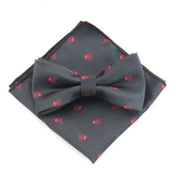 Polyester Bowtie Handkerchief Sets For Men Skull Printed Bow Ties Pocket Square Hankies Ties