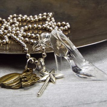 Cinderella Glass Slipper Necklace with Magic Wand and Pumpkin Charms