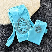 Juicy Couture Studded Logo Bright Crown Velour Tracksuit 6128 2pcs Women Suits Sky Blue
