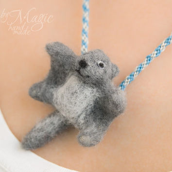 Felted flying squirrel on braided necklace, kumihimo, needle felted animal, gray, summer gift, small creature, wool toy