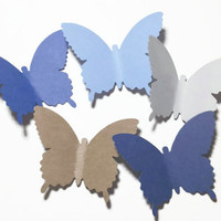 50 Large Blues Butterfly Die Cuts,Butterfly Punch, Paper Butterfly, Butterfly Decorations, Baby Boy Shower Decor