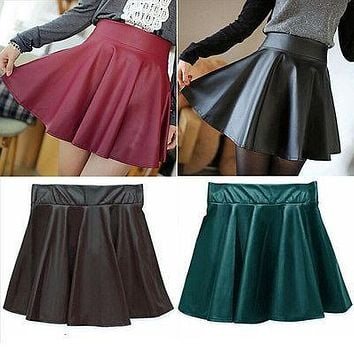 Chic Women Skirts Faux Leather Cute Elastic High Waist Stretch Skater Skirt Summer Solid Lady Girl Skirt