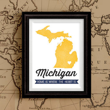 Vintage Style State Map Print with Hometown Heart, Michigan Map Art Print, Custom State Map,  Home is Where the Heart is