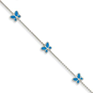 14kt White Gold 10 Inch Blue Enameled Butterfly Ankle Bracelet