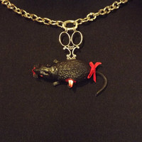 Halloween Goth Necklace - Skewered Rat with Victorian Style Scissors By Stillgoth