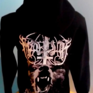 Marduk inverted cross wolf beast satanic black metal hoodie