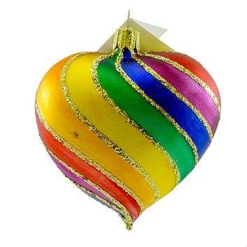 Tannenbaum Treasures Rainbow Heart Glass Ornament