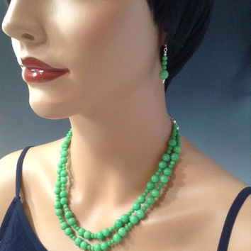 Pale Jade, necklace set, Double strand necklace, sterling chain, dangle earrings, lever back ear wires, green jewelry, handmade jewelry