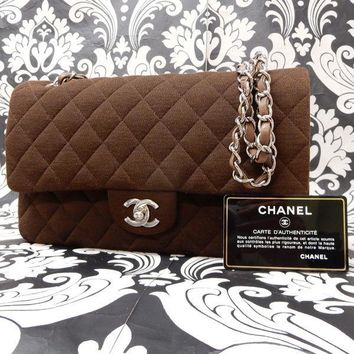 Rise-on CHANEL Cotton Brown 2.55 Double Flap Chain Shoulder bag Handbag #1294 t