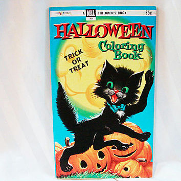 1950s DELL Children's HALLOWEEN Coloring Book Trick Or Treat Unused
