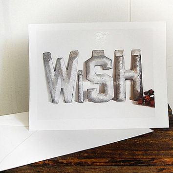 Vintage Marquee Letters WISH Note Card Shop VintageEmbellishment