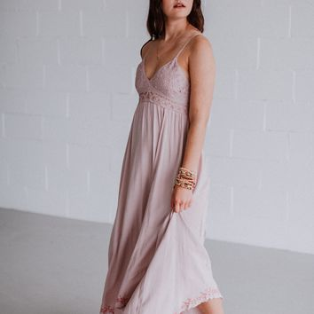 Bright Lights Crochet Maxi Dress - Mauve
