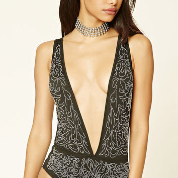 Deep V-Neck Studded Bodysuit