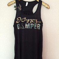 Happy Camper - Camping Tank - Camp Tank - Ruffles with Love - Racerback Tank - Womens Fitness - Workout Clothing - Workout Shirts with Sayings