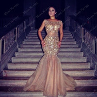 New Arrival Long Gold Mermaid Prom Dresses 2016 Sexy Backless Tulle Sqequins Evening Party Gown Floor Length Robe De Mariage