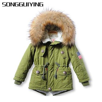 SONGGUIYING A81 Fashion Winter Kids Jackets Coats Boys Girls Thick Parkas Hooded Baby Girl Boy Warm Outerwear Children's Jacket