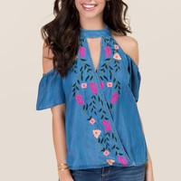 Raegan Gigi Cold Shoulder Floral Embroidered Top