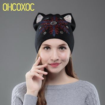 OHCOXOC New Design Women Beanies Skullies Cute Girl Autumn Winter Hat Christmas Cap Gift With Cat Ear Big Snowflakes Rhinestone