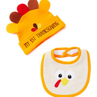 Orange 'My 1st Thanksgiving' Turkey Bib & Beanie