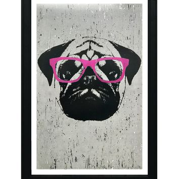 """Pug Art Poster with Pink Glasses - 13x19"""""""
