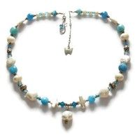 Blue Quartz, Freshwater Pearl Necklace, Handmade Sterling Clasp, OOAK