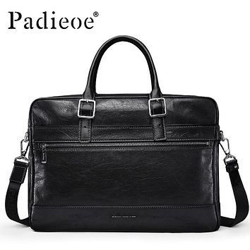 Men's Genuine Leather Vintage Briefcase Casual Laptop Business Handbags Crazy Horse Men Bags Cow Leather Male Tote Bags
