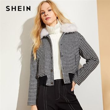 SHEIN Black and White Faux Fur Collar Houndstooth Jacket Casual Single Breasted Coats Women Autumn Streetwear Casual Jackets
