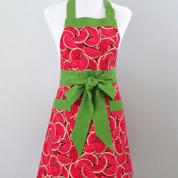 Womens Apron, Watermelon Print, Red and Bright Green, Fully Lined, 100% Premium Cotton