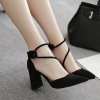 New Summer Shoes Woman sandals High Heels women pointed toe shoes square high heel sandals sexy ankle strap shoes zapatos mujer