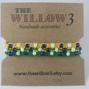 Green Yellow Brazil Themed Bead Friendship Bracelet