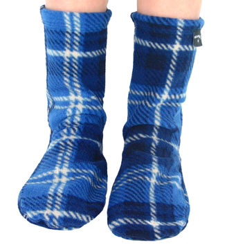 Kids' Nonskid Fleece Socks - Blue Flannel