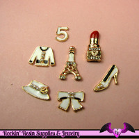 GIRLY 7pc White PARIS CABOCHONS  Enamel Alloy Decoden Cell phone Decorations