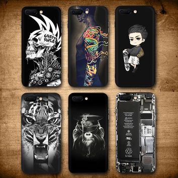 Cool Dragon Tatoo Skull Tiger Case for iphone 6 7 8 6s 7plus 8plus Skate Boy Broken Matte Hard Plastic Cover for iphone 7 case