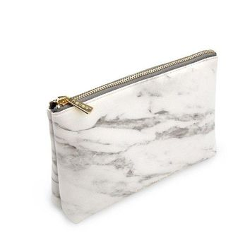 ONETOW METAN Marble White Cosmetic Bag with Gold Zipper, Fashion Handbags for Makeup Storage, Change Holder, Coin Wallets (8.36' x 2.38' x 5.3')