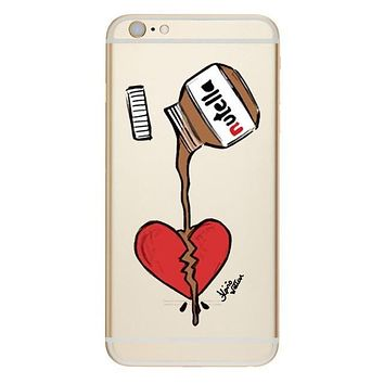 Nutella being poored over Red Heart Phone Case For iPhone 7 7Plus 6 6s Plus 5 5s SE