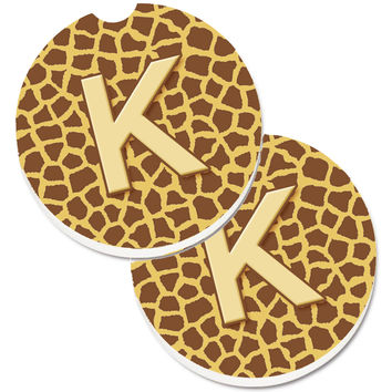 Monogram Initial K Giraffe  Set of 2 Cup Holder Car Coasters CJ1025-KCARC
