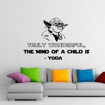Star Wars Wall Decal Quotes Truly Wonderful The Mind Of A Child Is Yoda Wall Murals Children Kids Boys Room Bedroom Dorm Home Decor Q102
