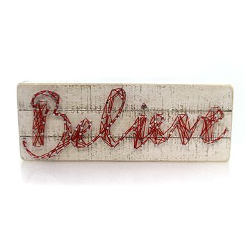 Christmas Believe String Art Box Sign Sign / Plaque
