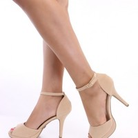 Nude Peep Toe Ankle Strap Heels Faux Suede