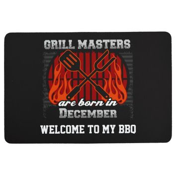 Grill Masters Are Born In December Personalized Floor Mat