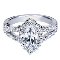 "Ben Garelick Royal Celebration ""Celeste"" Marquise Cut Diamond Halo Engagement Ring"