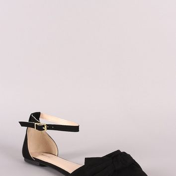 Qupid Suede Bow Accent Pointy Toe Ankle Strap Flat