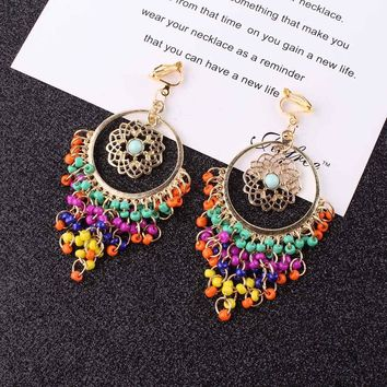 Vintage Multicolor Resin Colorful Beads Tassel Clip on Earrings For Women Boho Fashion Accessories Big No Pierced Earrings