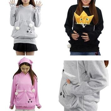 LMFON Women Hoodies Sweatshirt Hooded Pullovers Cute Meow Star Kangaroo Big Pocket Sweatshirt Female Hooded Hoodies free shipping