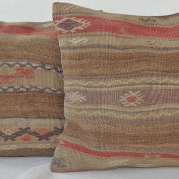 SET Organic Dyed Anatolian Handwoven Turkish Kilim Pillow Cover, Extra Light Brown Embroidered  Kilim Pillow 40 x 40 Kilim Throw Pillow